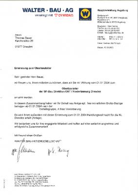 2003 Bestellung zum Oberbauleiter bei Walter Bau AG / DYWIDAG