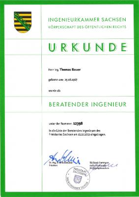 2012  Beratender Ingenieur der Ingenieurkammer Sachsen