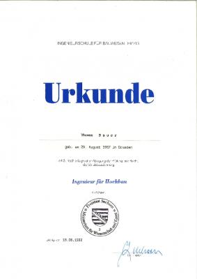 """1992 Bauingenieur für Hochbau an der Ingenieurschule Cottbus / Leipzig, Prädikat """"gut"""""""