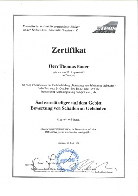 """1997 Sachverständiger zur Bewertung von Schäden an Gebäuden (EIPOS), Prädikat """"gut"""""""